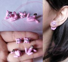 Mew earrings from Pokemon by laahmichelle