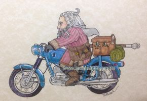 Oin on a motorbike by melanippos
