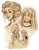 Iedra and Elle sketches by StressedJenny