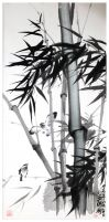 bamboo with bird by tboonip1