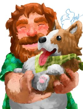 Brian and his dog by HakuST
