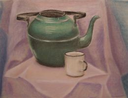 Green kettle, crayon on paper by MaxaOn