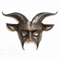 Leather Goat Mask grey black brown by Teonova by teonova