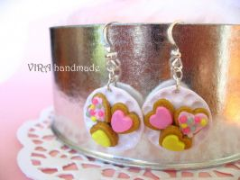 Frosted cookies on a plate earrings by virahandmade