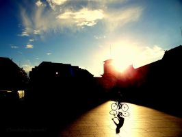 The Dazzled Cyclist and his Servile Shadow by Cloudwhisperer67