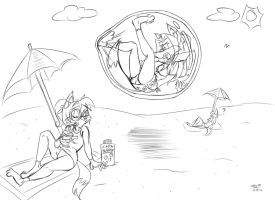 Stacey Beach Bubble Trouble -Art Trade- by Django90