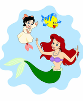 Ariel, Melody and Flounder by siquia
