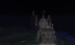 Minecraft Creations Cathedral and Folly at Night by gamequeer