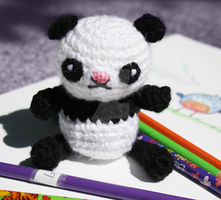 panda with colorpencils 3 by tinyowlknits