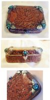 Turquoise and Leather - Polymer Clay Jewelry Tin by EruwaedhielElleth