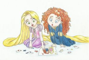 Merida and Rapunzel by Xijalle