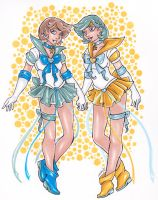 Crystal Sailor Uranus and Neptune by nickyflamingo