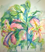 pink lilies LProctor by LaurieLefebvre
