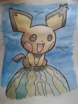 Water colour Pichu Journey by Adripika