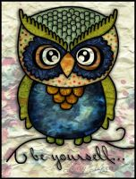 Be Yourself ...Owl Old School Tattoo by Pompelina
