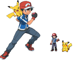 Ash pokemon xy anime sprite by darkgaara736