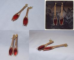 Red and Gold Spear Earrings by ACrowsCollection