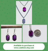 Glass Zelda Purple Rupees Necklace and Earrings by cutekick