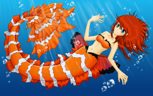 Commission: Clownfish Mermaid Kai by Ravermore