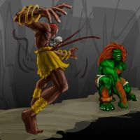 Dhalsim VS Blanka Sketch by gabe687