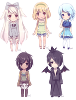 Chibi commissions batch by Yoai
