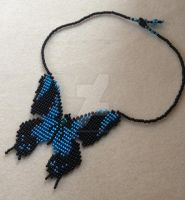 Butterfly Necklace - Black and Turquoise 2 by WhiteMagicPriestess