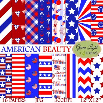 4th of July Digital Papers by GreenLightIdeasGLI