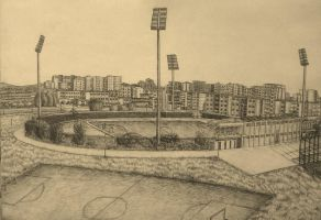 Drawing - (Sepia) Panorama Of The City Stadium by eduaarti