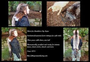Vintage silver fox fur headdress by lupagreenwolf