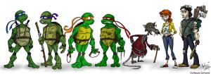 Ninja Turtle Lineup by OuthouseCartoons