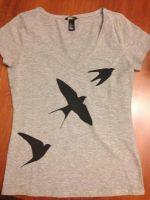 Swallow silhouette silk screen: t-shirt by sarahcaj