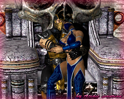 Scorpion and Kitana on the throne by Acidic-Saurian