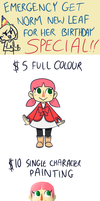 Buy Norm New Leaf for her Birthday Commissions! by TheNoodleFace