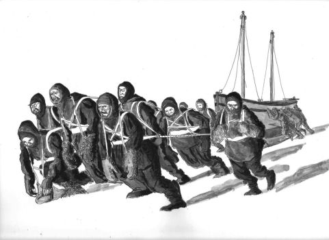 Marching on the Ice, Weddell Sea, December 1915 by FritzVicari