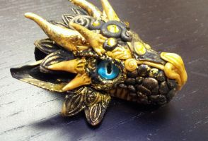 Black and Golden Dragon Head Pendant by AstridMakosla