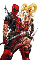 Harley Quinn and Deadpool, J. Tyndall by sinhalite