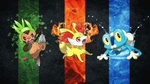 Pokemon 6th Gen Starters Wallpaper by MediaCriggz
