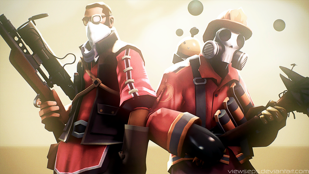 Team Fortress 2 (TF2) - pyro and sniper by ViewSEPS