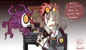 Jack and Wuya spend Five Nights at Freddy's by BonzlyDoo