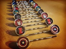 Avengers and Loki Hair Clips - Handmade by Monostache