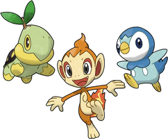 Turtwig, Chimchar, and Piplup by TheSerotonin
