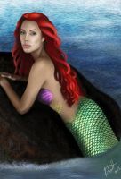 Angelina Jolie as Ariel by leenadwish
