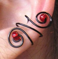 Red and Black Ear Cuff Set by lavadragon