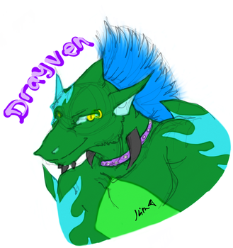 Drayven the Lycrodilian digital headshot sketch by 10kk
