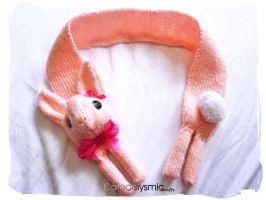 Candy Pink Bunny Rabbit Scarf by Cateaclysmic