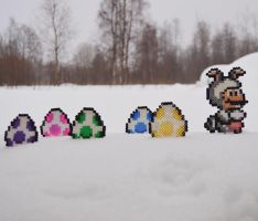 Super mario - Easter theme bead sprites. by Anjydoll