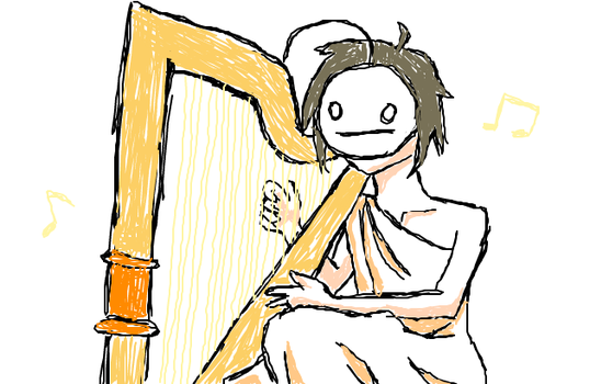 Cry playing harp by BlueScarfLink