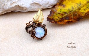 Moonstone wire wrapped adjustable ring with leaf by IanirasArtifacts