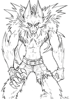 Werewolf lineart by Strixic