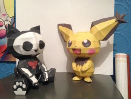 pichu and skelekitten paperkraft by magicalyuki